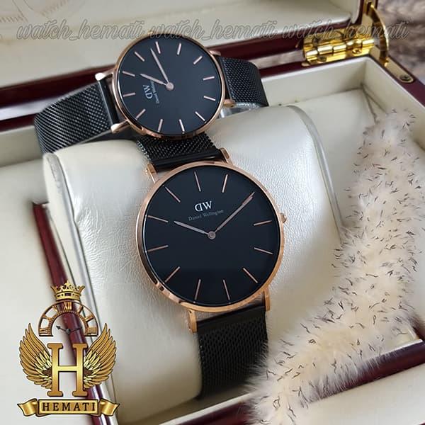 خرید ، قیمت ، مشخصات ساعت ست زنانه و مردانه دنیل ولینگتون Daniel Wellington DWSET52 قاب رزگلد با صفحه و بند حصیری مشکی