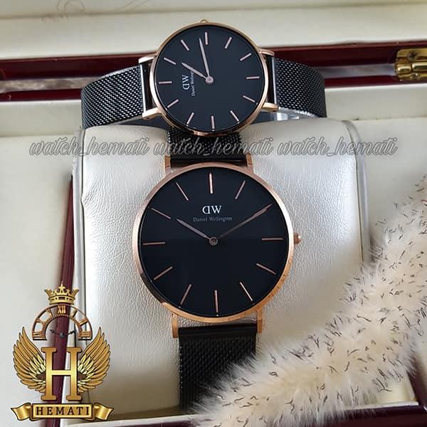 خرید ارزان ساعت ست زنانه و مردانه دنیل ولینگتون Daniel Wellington DWSET52 قاب رزگلد با صفحه و بند حصیری مشکی
