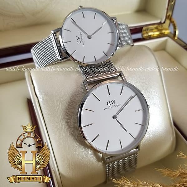 خرید ، قیمت ، مشخصات ساعت ست زنانه و مردانه دنیل ولینگتون Daniel Wellington DWSET53 قاب و بند حصیری نقره ای با صفحه سفید