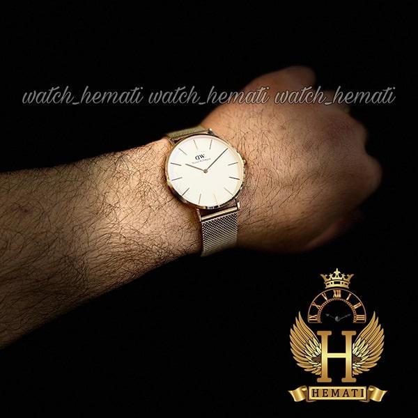 عکس دست ساعت مردانه دنیل ولینگتون Daniel Wellington DWM13 رزگلد با رنگ صفحه سفید