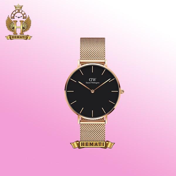 ساعت مردانه دنیل ولینگتون مدل DW50 رزگلد با صفحه بندی سفید، مشکی . سیاه