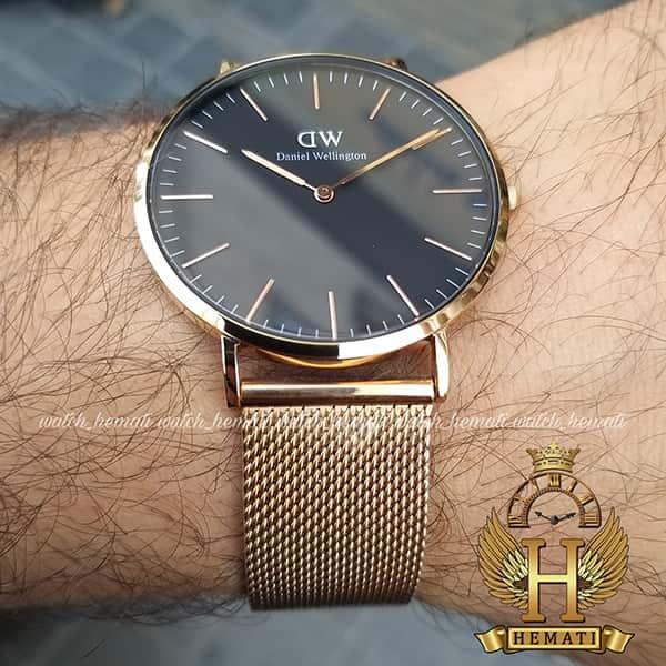 عکس ساعت مردانه دنیل ولینگتون Daniel Wellington DWM10 رزگلد با رنگ صفحه مشکی و سفید