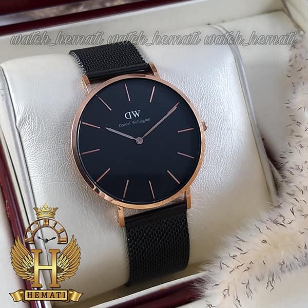 خرید ، قیمت ، مشخصات ساعت مردانه دنیل ولینگتون Daniel Wellington DWM11 قاب رزگلد با صفحه و بند حصیری مشکی