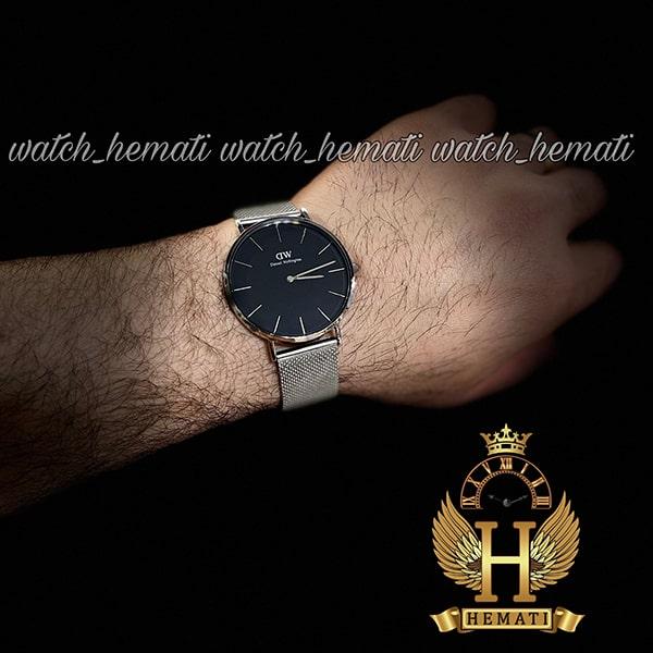 عکس ساعت مردانه دنیل ولینگتون Daniel Wellington DWM12 قاب و بند نقره ای با رنگ صفحه مشکی