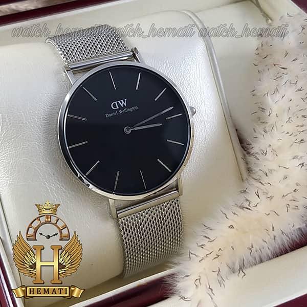 خرید ارزان ساعت مردانه دنیل ولینگتون Daniel Wellington DWM12 قاب و بند نقره ای با رنگ صفحه مشکی