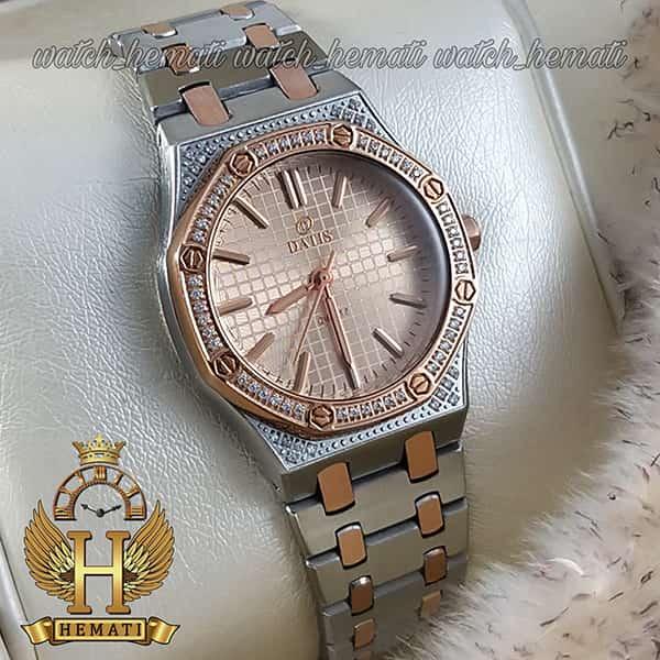 ساعت مچی زنانه داتیس مدل DATIS D8442L نقره ای رزگلد شیشه کافی طرح ایپی