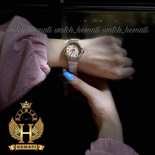 خرید اینترنتی ساعت زنانه داتیس طرح امگا کانستلاکشن DATIS D8444L نقره ای رزگلد شیشه کافی