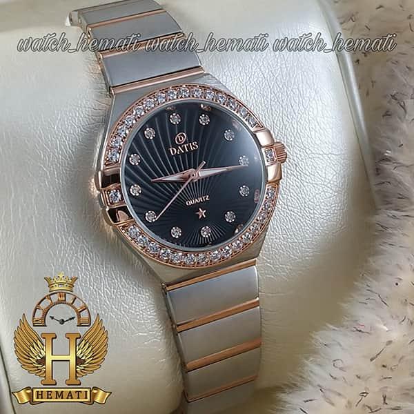 خرید ساعت مچی زنانه داتیس طرح امگا کانستلاکشن DATIS D8444L نقره ای رزگلد با شیشه کافی