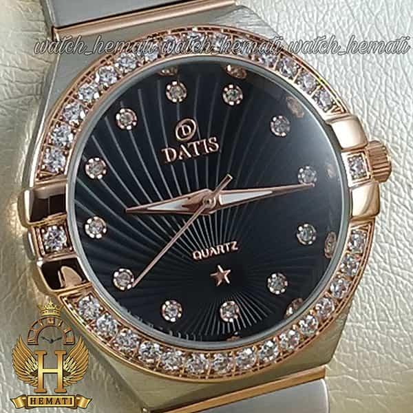 قیمت ساعت زنانه داتیس طرح امگا کانستلاکشن DATIS D8444L نقره ای رزگلد با شیشه کافی