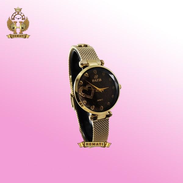 خرید ساعت زنانه داتیس بند حصیری اورجینال مدل DATIS D8463L طلایی شیشه کافی