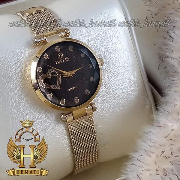 خرید اینترنتی ساعت زنانه داتیس بند حصیری اورجینال مدل DATIS D8463L طلایی شیشه کافی