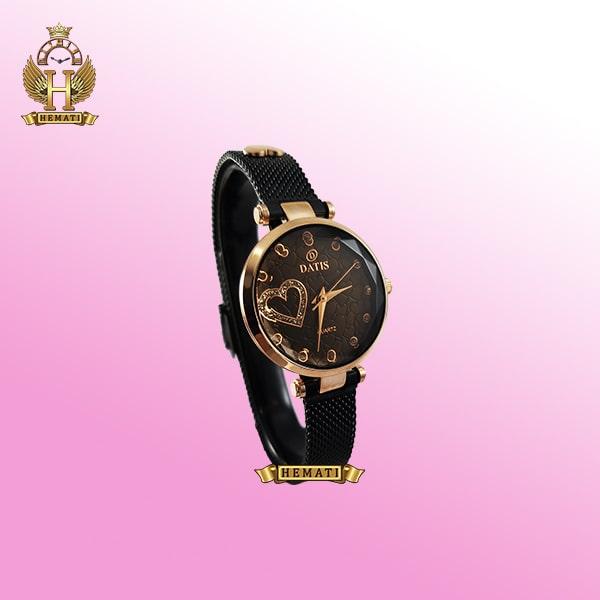 خرید ساعت زنانه داتیس بند حصیری اورجینال مدل DATIS D8463L مشکی رزگلد شیشه کافی