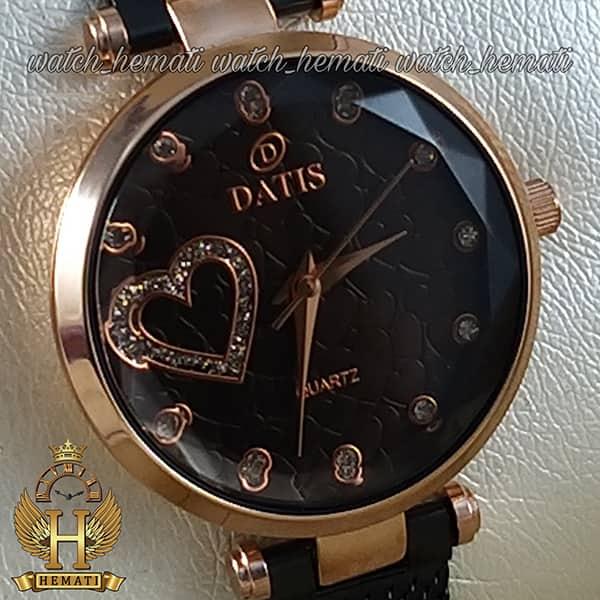 قیمت ساعت زنانه داتیس بند حصیری اورجینال مدل DATIS D8463L مشکی رزگلد شیشه کافی
