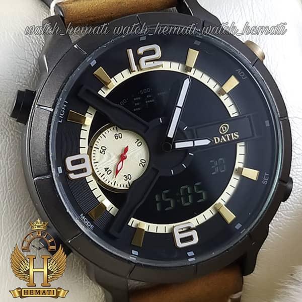 خرید آنلاین ساعت مردانه داتیس دو زمانه ساعت جهانی بند چرم مدل datis d8465ag رنگ مشکی طلایی با بند عسلی