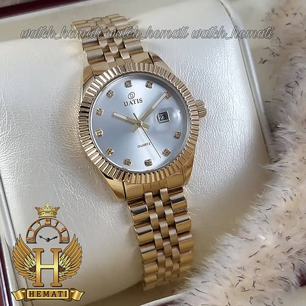 قیمت ساعت زنانه داتیس مدل D8475L طلایی صفحه نقره ای اورجینال