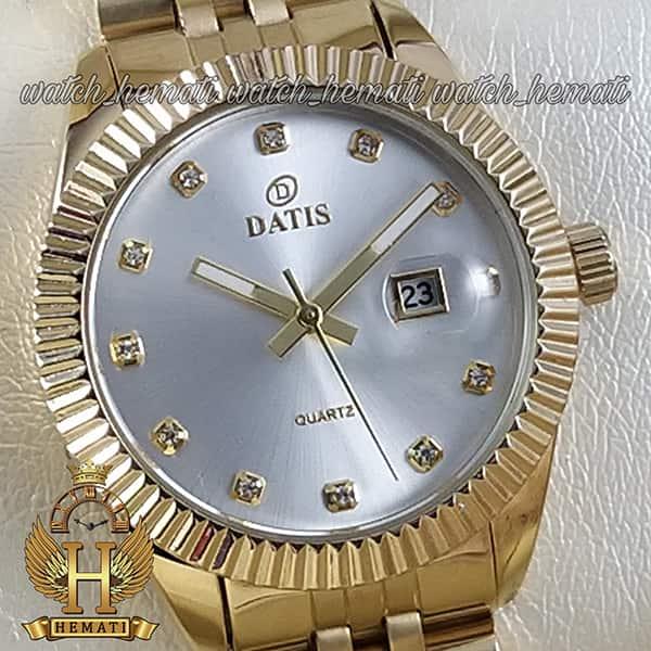 خرید اینترنتی ساعت زنانه داتیس مدل D8475L طلایی صفحه نقره ای اورجینال