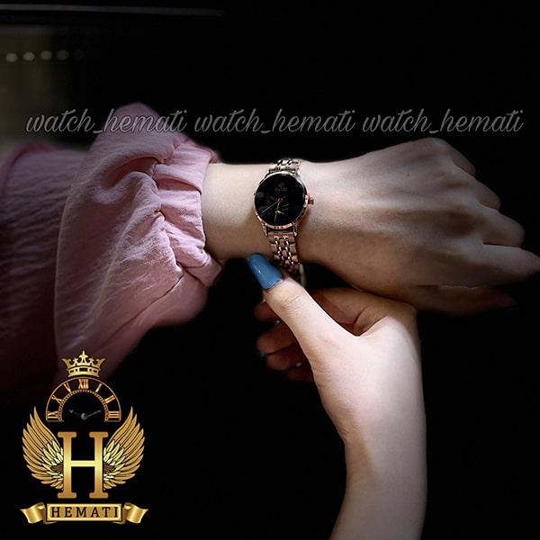 خرید اینترنتی ساعت زنانه داتیس اورجینال مدل DATIS D8477BL رزگلد شیشه کافی