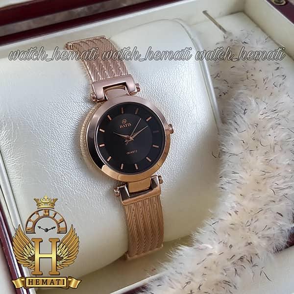 خرید اینترنتی ساعت زنانه داتیس رزگلد طرح سیم بکسل مدل DATIS D8509EL شیشه کافی