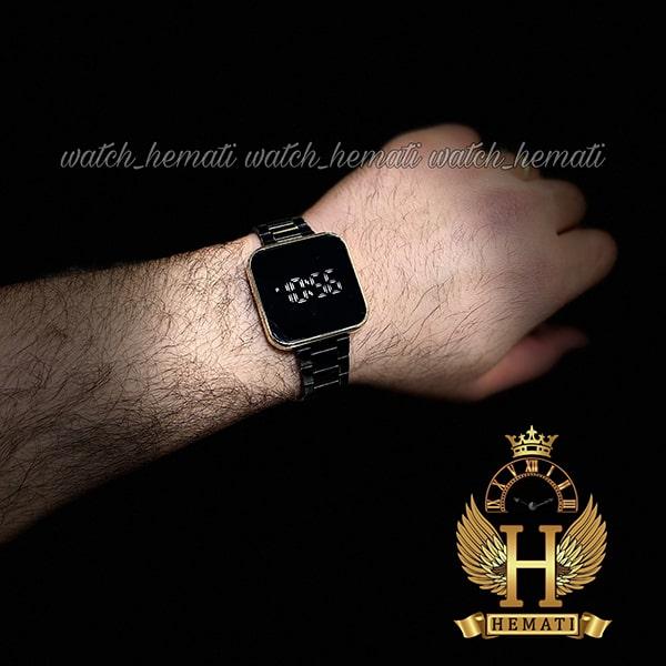 خرید اینترنتی ساعت ال ای دی داتیس مدل DATIS LED D8488AL قاب طلایی و بند مشکی