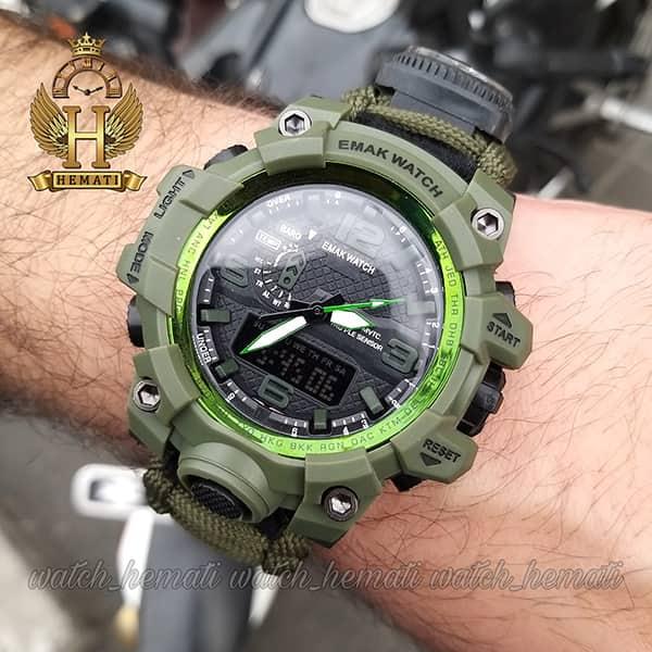 مشخصات ساعت دوزمانه مردانه کماندویی با بند پاراکورد دارای آتیش زن ، قطب نما ، دمای فراین هایت ، سوت و ... قاب بند تمام سبز