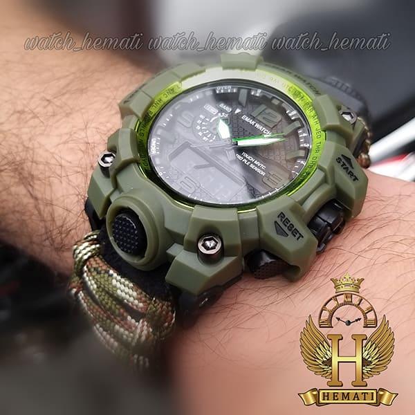 مشخصات ساعت دوزمانه مردانه کماندویی با بند پاراکورد دارای آتیش زن ، قطب نما ، دمای فراین هایت ، سوت و ... قاب سبز و بند سبز کماندویی