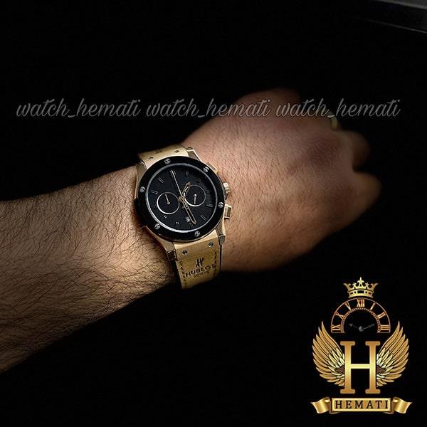 خرید انلاین ساعت مردانه هابلوت بیگ بنگ Hublot Big Bang HU3M111 رزگلد سه موتوره کرنوگراف دار دور قاب مشکی