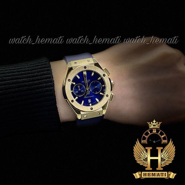قیمت ساعت زنانه هابلوت بیگ بنگ مدل bbt9872 با قاب طلایی و بند و صفحه سرمه ای