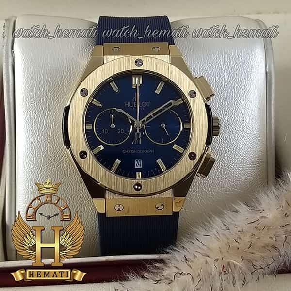 مشخصات ساعت زنانه هابلوت بیگ بنگ مدل bbt9872 با قاب طلایی و بند و صفحه سرمه ای
