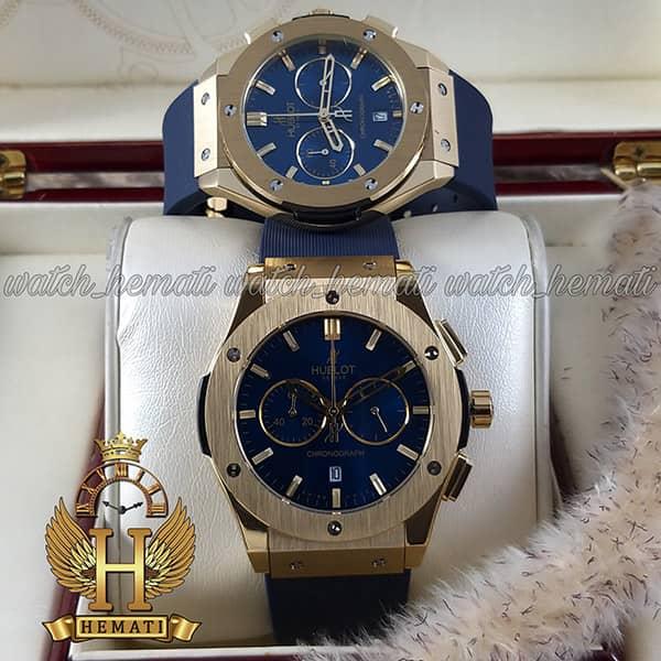 خرید ، قیمت ، مشخصات ساعت ست هابلوت بیگ بنگ مدل bb36901 طلایی کرنوگراف دار صفحه و بند سرمه ای