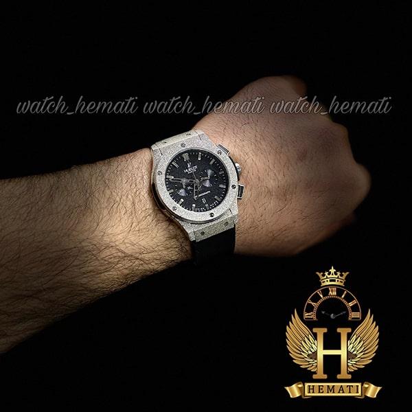خرید ساعت مردانه هابلوت بیگ بنگ مدل BB4510 قاب شنی نقره ای سه موتوره کرنوگراف دار