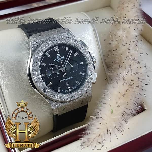 مشخصات ساعت مردانه هابلوت بیگ بنگ مدل BB4510 قاب شنی نقره ای سه موتوره کرنوگراف دار