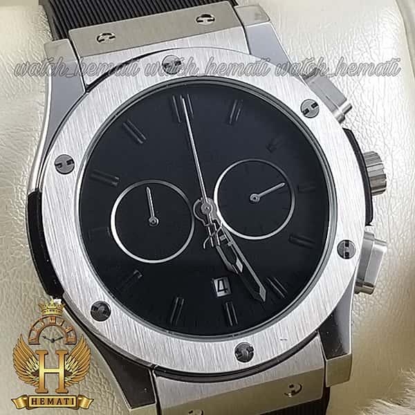 مشخصات ساعت مردانه هابلوت بیگ بنگ Hublot Big Bang HU3M112 قاب نقره ای صفحه ساده مشکی