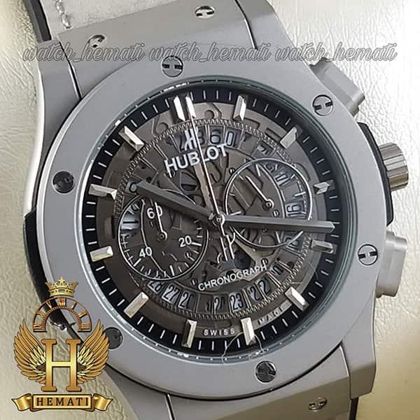 خرید ساعت مردانه هابلوت بیگ بنگ Hublot Big Bang HU3AM205 تمام طوسی سه موتوره ، صفحه اسکلتون