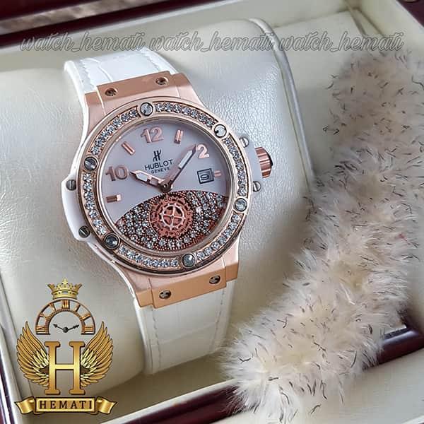 خرید اینترنتی ساعت هابلوت بیگ بنگ مدل BB4546 قاب رزگلد و بند سفید دورقاب نگین دار