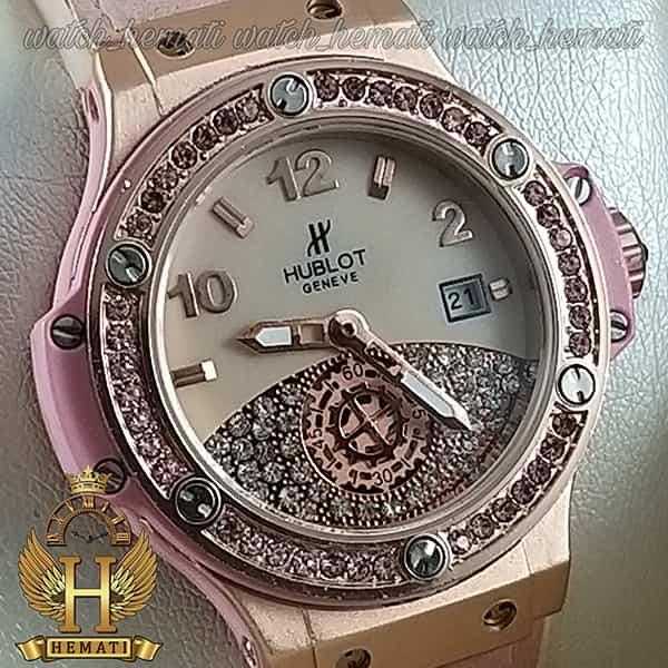خرید انلاین ساعت هابلوت بیگ بنگ مدل Hublot Big bang HUCL505 قاب رزگلد صفحه و بند صورتی هایکپی