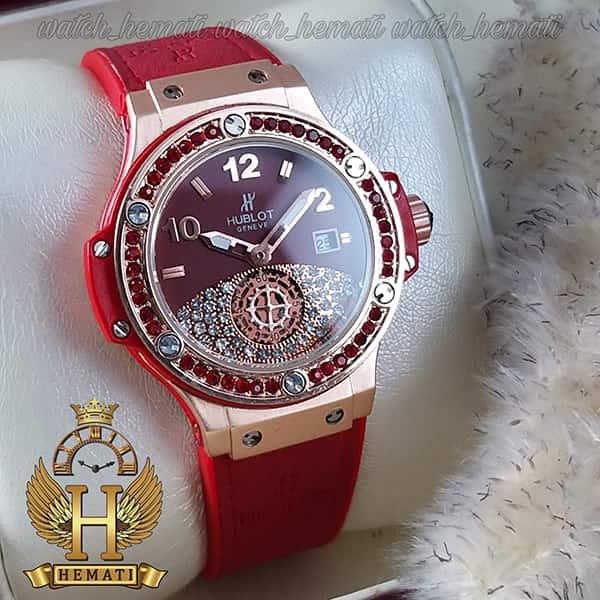 قیمت ساعت زنانه هابلوت بیگ بنگ مدل Big bang HUCL504 رنگ قرمز دور قاب نگین دار هایکپی