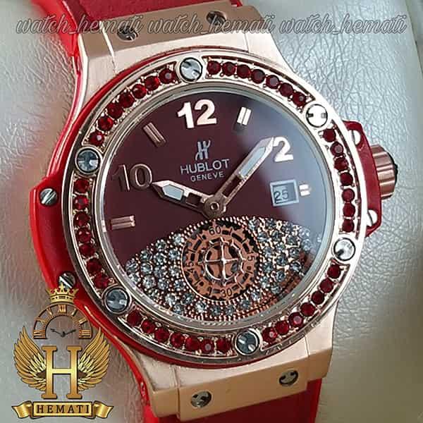 ساعت زنانه هابلوت بیگ بنگ مدل Big bang HUCL504 رنگ قرمز دور قاب نگین دار هایکپی