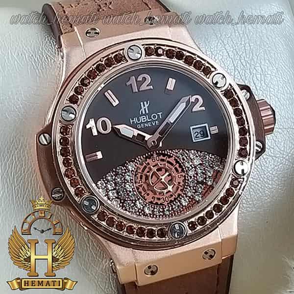 مشخصات ساعت زنانه هابلوت بیگ بنگ هایکپی مدل Big bang BB7441 قهوه ای دور قاب نگین دار