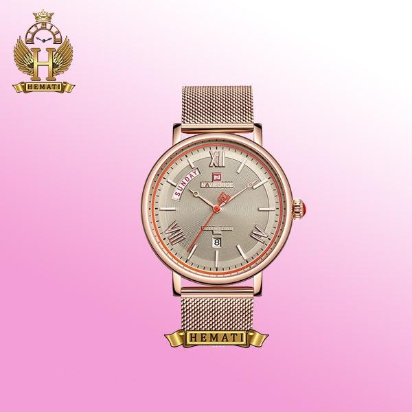 خرید ساعت مردانه نیوی فورس NF3006M رزگلد عقربه ای اورچینال