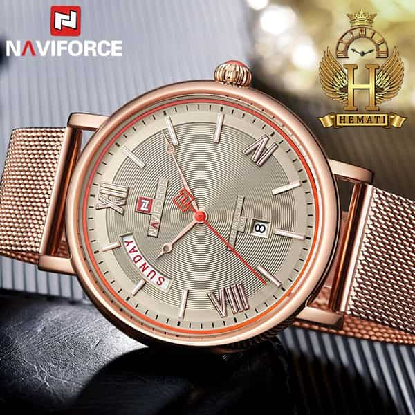 قیمت ساعت مردانه نیوی فورس مدل naviforce nf3006m رزگلد