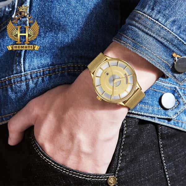 خرید اینترنتی ساعت مردانه نیوی فورس مدل naviforce nf3007m تمام طلایی با بند حصیری