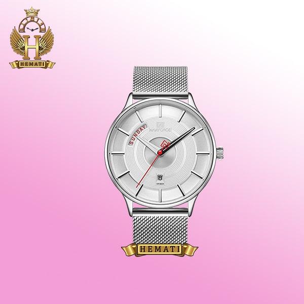 ساعت مردانه نیوی فورس مدل Naviforce NF3007M نقره ای صفحه سفید اورجینال