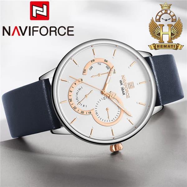 خرید انلاین ساعت مردانه نیوی فورس naviforce nf3011m مشکی قاب نقره ای و بند سرمه ای