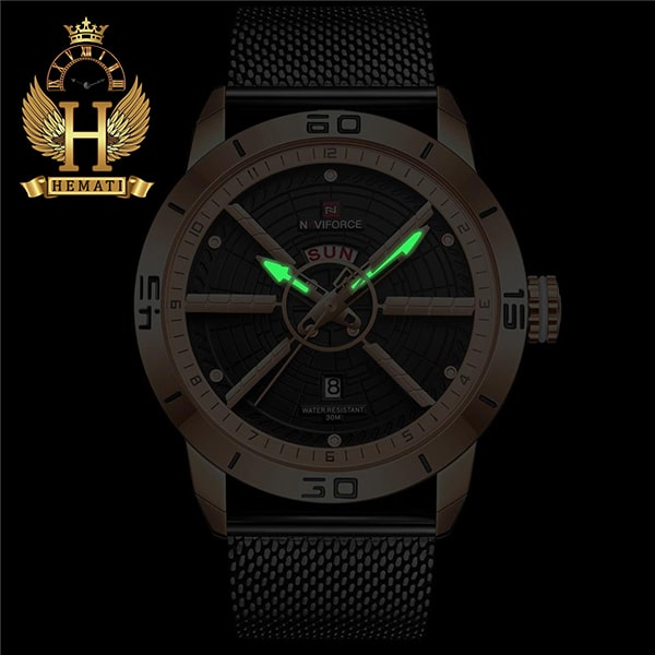 خرید ساعت مردانه نیوی فورس مدل naviforce nf9155m سرمه ای با بند حصیری