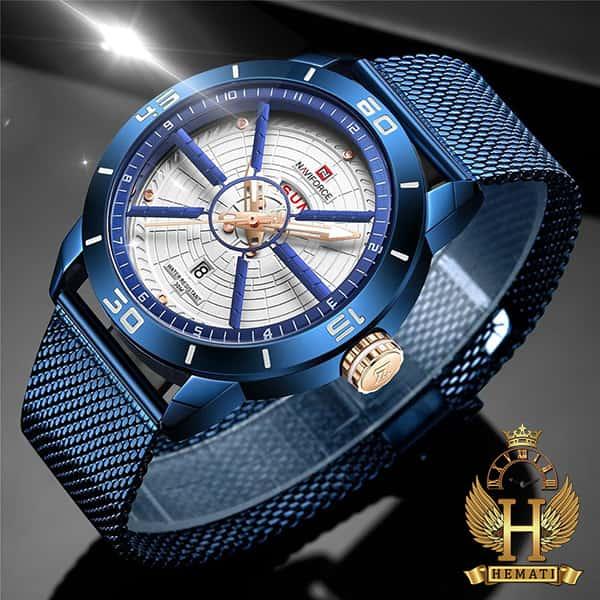 قیمت ساعت مردانه نیوی فورس مدل naviforce nf9155m سرمه ای با بند حصیری