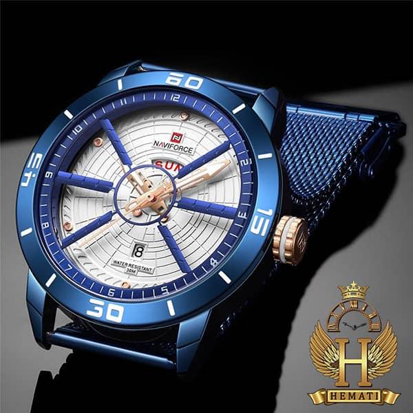 مشخصات ساعت مردانه نیوی فورس مدل naviforce nf9155m سرمه ای با بند حصیری