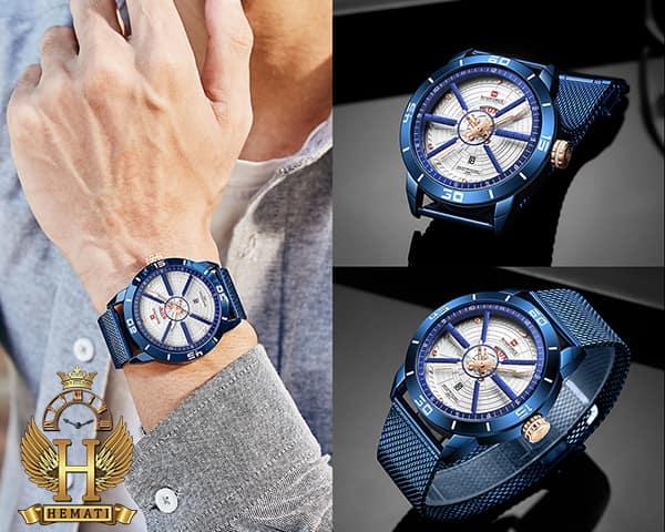 خرید ارزان ساعت مردانه نیوی فورس مدل naviforce nf9155m سرمه ای با بند حصیری