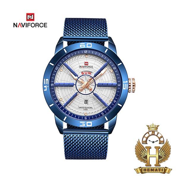 خرید اینترنتی ساعت مردانه نیوی فورس مدل naviforce nf9155m سرمه ای با بند حصیری