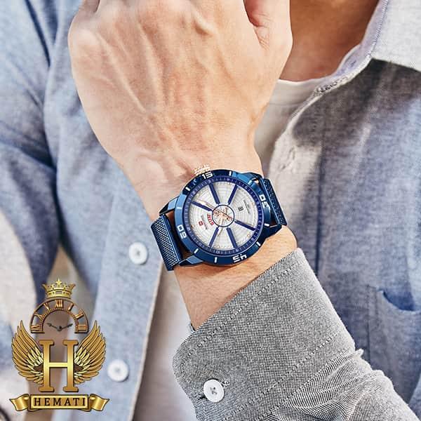 خرید انلاین ساعت مردانه نیوی فورس مدل naviforce nf9155m سرمه ای با بند حصیری
