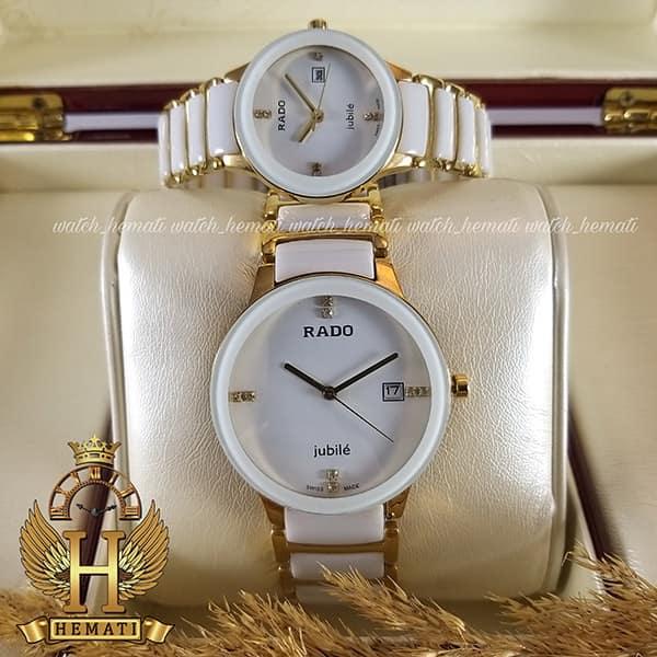 خرید اینترنتی ساعت ست رادو دیا استار Rado Diastar Jubile RDST103 سرامیک سفید و فلز رزگلد